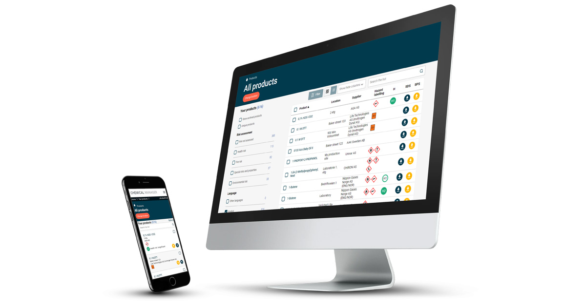 mockup of chemical manager software on desktop and mobile